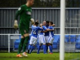 Craig McAllister of Eastleigh celebrates his goal during the FA Cup First Round match between Eastleigh FC and Lincoln City at Silverlake Stadium in Eastleigh on November 08, 2014