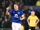 Everton's English defender Phil Jagielka celebrates scoring his team's second goal during the UEFA Europa League Group H football match between Everton and Lille at Goodison Park in Liverpool, Northwest England, on November 6, 2014