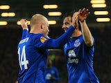 Steven Naismith of Everton celebrates with Leighton Baines as he scores their third goal during the UEFA Europa League Group H match between Everton FC and LOSC Lille at Goodison Park on November 6, 2014