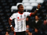 Hugo Rodallega of Fulham celebrates scoring during the Sky Bet Championship match between Fulham and Huddersfield Town at Craven Cottage on November 8, 2014