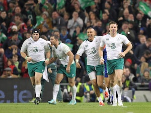 Tommy Bowe is congratulated by by Simon Zebo after scoring a try for Ireland during the 2014 Guinness series International match between Ireland and South Africa at Aviva Stadium on November 8, 2014