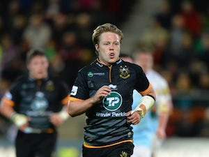Joel Hodgson of Northampton Saints during the LV= Cup match between Northampton Saints and Newcastle Falcons at Franklin's Gardens on November 1, 2014