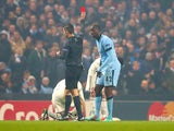 Yaya Toure of Manchester City is shown a red card by Referee Tasos Sidriopoulos during the UEFA Champions League Group E match between Manchester City and CSKA Moscow on November 5, 2014