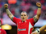Wales player Paul James celebrates a try during the RBS Six Nations game between Wales and Ireland on February 2, 2013