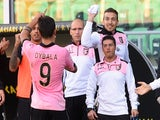 Paulo Dybala of Palermo celebrates after scoring the equalizing goal during the Serie A match between US Citta di Palermo and Udinese Calcio on November 9, 2014