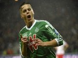 St Etienne's French midfielder Romain Hamouma reacts after scoring an equalizer during the French L1 football match Saint-Etienne (ASSE) vs Monaco (ASM) on November 9, 2014