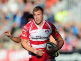 Ross Moriarty of Gloucester in action during the Aviva Premiership match between Gloucester and Leicester Tigers at Kingsholm Stadium on October 4, 2014