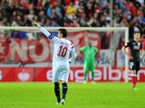 Sevilla's forward Jose Antonio Reyes celebrates after scoring during the UEFA Europa League football match Sevilla FC vs Standard de Liege at the Ramon Sanchez Pizjuan stadium in Sevilla on November 6, 2014