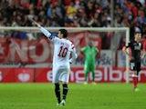 Sevilla's forward Jose Antonio Reyes celebrates after scoring during the UEFA Europa League football match Sevilla FC vs Standard de Liege at the Ramon Sanchez Pizjuan stadium in Sevilla on November 6, 2014