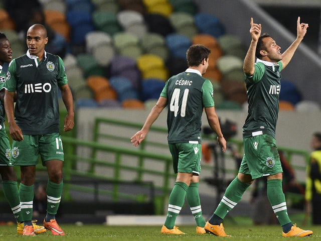 Sporting's Brazilian defender Jefferson Nascimento celebrates after scoring during the UEFA Champions League football match Sporting Clube de Portugal vs FC Schalke 04 at the Jose Alvalade stadium in Lisbon on November 5, 2014