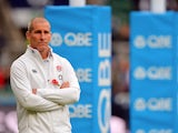 England's Head Coach Stuart Lancaster walks on the pitch before the international rugby union test match between England and New Zealand at Twickenham Stadium, southwest of London on November 8, 2014