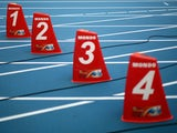 A general view of the lane markers ahead of the 14th IAAF World Athletics Championships Moscow 2013 at the Luzhniki Sports Complex on August 9, 2013