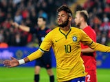 Brazil's forward Neymar celebrates after scoring a goal during a friendly football between Turkey and Brazil on November 12, 2014