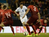 Danny Ings of England takes on the Portugal defence during the U21 International Friendly match between England and Portugal at Turf Moor on November 13, 2014