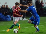 Hungarian defender Krisztian Simon vies for the ball with Finland's midfielder Perparim Hetemaj during the UEFA 2016 European Championship qualifying round Group F football match Hungary vs Finland at the Groupama Arena stadium in Budapest on November 14,