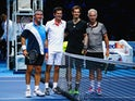 Pat Cash, Tim Henman, Andy Murray and John McEnroe pose ahead of the exhibition match on day eight of the Barclays ATP Tour Finals on November 16, 2014