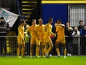 Callum Robinson of Preston celebrates after scoring his team's 2nd goal during the FA Cup First Round match between Havant & Waterlooville FC and Preston North End on November 10, 2014