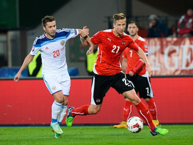 Russia's Viktor Fayzulin (L) and Austria's Marc Janko (R) vie for the ball during the UEFA 2016 European Championship qualifying round Group G football match on November 15, 2014