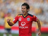 Pablo Sanchez of Adelaide celebrates after scoring a goal during the round seven A-League match between the Central Coast Mariners and Adelaide United at Central Coast Stadium on November 23, 2014