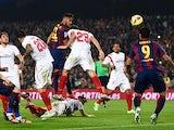 Neymar of FC Barcelona scores his team's second goal during the La Liga match between FC Barcelona and Sevilla FC at Camp Nou on November 22, 2014