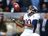 Emmanuel Sanders #10 of the Denver Broncos catches a 42-yard touchdown pass against the St. Louis Rams in the second quarter t the Edward Jones Dome on November 16, 2014