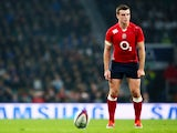 George Ford of England attempts a kick at goal during the QBE international match between England and Samoa at Twickenham Stadium on November 22, 2014