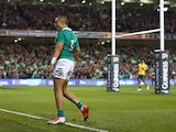 Simon Zebo of Ireland celebrates scoring the first try during the international friendly match between Ireland and Australia at Aviva Stadium on November 22, 2014