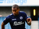Jermaine Easter of Millwall FC during the Sky Bet Championship match between Millwall and Rotherham United at The Den on August 23, 2014