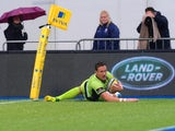 James Wilson of Northampton Saints scores their first try during the Aviva Premiership match between Saracens and Northampton Saints at Allianz Park on November 23, 2014