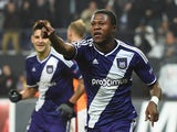 Anderlecht's Congolese defender Chancel Mbemba celebrates after scoring on during a UEFA Champions League football match between Anderlecht and Galatasaray in Brussels November 26, 2014