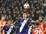 Anderlecht's forward from Serbia Aleksandar Mitrovic attempts a header during the UEFA Champions League football match between Anderlecht and Galatasaray in Brussels, November 26, 2014