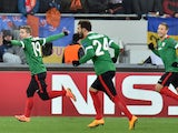 Athletic Bilbao's Iker Mniain and other players celebrate after scoring during the UEFA Champions League Group H football match FC Shakhtar vs Athletic Bilbao in Lviv on November 25, 2014