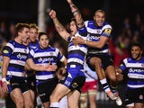 Bath player Matt Banahan celebrates with team mates after scoring the first try during the Aviva Premiership match between Bath Rugby and Harlequins at Recreation Ground on November 28, 2014