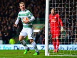 Stefan Johansen of Celtic celebrates scoring a goal late in the first half during the UEFA Europa League group D match between Celtic FC and FC Salzburg at Celtic Park on November 27, 2014