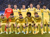 Chelsea's players pose for the team photo prior to the UEFA Champions League second leg Group G football match FC Schalke 04 vs Chelsea FC in Gelsenkirchen, western Germany, on November 25, 2014