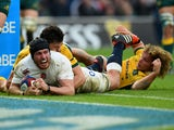Ben Morgan of England crashes over to score the opening try during the QBE international match between England and Australia at Twickenham Stadium on November 29, 2014