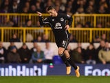 Kevin Mirallas of Everton celebrates scoring the opening goal during the Barclays Premier League match between Tottenham Hotspur and Everton at White Hart Lane on November 30, 2014