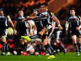 Henry Slade of Exeter Chiefs puts in a kick during the Aviva Premiership match between Exeter Chiefs and Saracens at Sandy Park on November 29, 2014