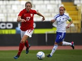 Gemma Davison of England and Annika Kukkonen of Finland in action during the Cyprus Cup match between England and Finland at GSZ stadium on March 7, 2014