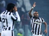 Juventus' Chilean midfielder Arturo Pardo Vidal celebrates after scoring during the Italian Serie A football match Juventus Vs Torino on November 30, 2014