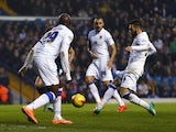 Mirco Antenucci of Leeds scores the opening goal during the Sky Bet Championship match between Leeds United and Derby County at Elland Road on November 29, 2014