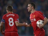 Liverpool midfielder Steven Gerrard congratulates Liverpool striker Rickie Lambert for his goal on November 26, 2014