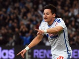 Marseille's French midfielder Florian Thauvin celebrates after opening the scoring during the French L1 football match Marseille (OM) vs Nantes (FCN) on November 28, 2014