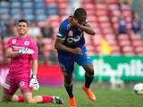Edson Montano of the Jets celebrates after scoring a goal during the round eight A-League match between the Newcastle Jets and Central Coast Mariners at Hunter Stadium on November 30, 201