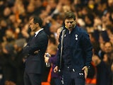 Manager Mauricio Pochettino of Spurs reacts after Roberto Soldado of Spurs scores their second goal during the Barclays Premier League match between Tottenham Hotspur and Everton at White Hart Lane on November 30, 2014