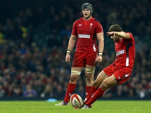 Wales' full back Leigh Halfpenny kicks a penalty during the Autumn International rugby union Test match between Wales and South Africa at the Millennium Stadium in Cardiff, south Wales, on November 29, 2014