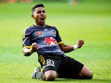 Roy Krishna of the Phoenix celebrates after scoring a goal during the round eight A-League match between Wellington Phoenix and Melbourne City at Westpac Stadium on November 30, 2014