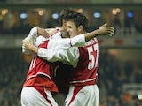 Francesc Fabregas of Arsenal celebrates scoring the 5th goal during the Carling Cup fourth round match between Arsenal and Wolverhampton Wanderers at Highbury on December 2, 2003