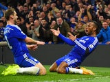 Didier Drogba of Chelsea celebrates scoring their second goal with Branislav Ivanovic of Chelsea during the Barclays Premier League match between Chelsea and Tottenham Hotspur at Stamford Bridge on December 3, 2014