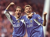 Mark Nicholls and Tore Andre Flo of Chelsea celebrate after an FA Carling Premiership match against Tottenham Hotspur at White Hart Lane on December 6, 1997
